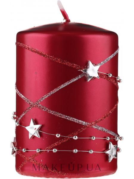 Декоративная свеча, красная, 11х7 см