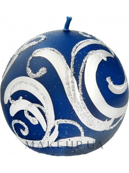 Декоративная свеча, шар, синий с завитушками, 8 см