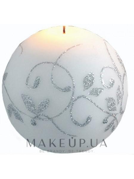 Декоративная свеча, шар, белый, 8 см