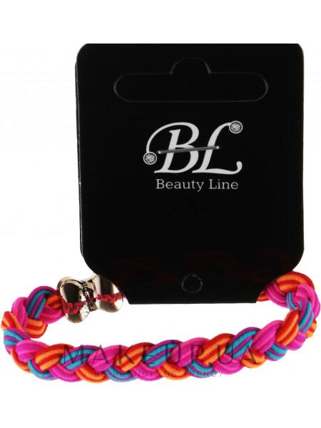 Резинка для волос, 405002, косичка розово-оранжевая с голубым