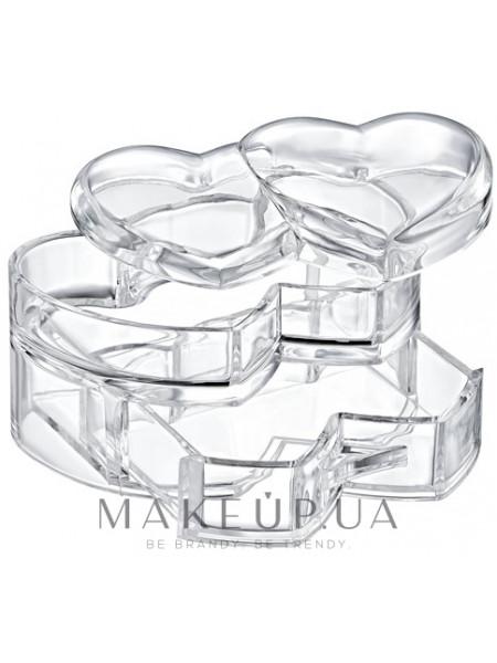 Органайзер пластиковый для косметики в форме сердца с крышкой 10,5x15,5x10 см