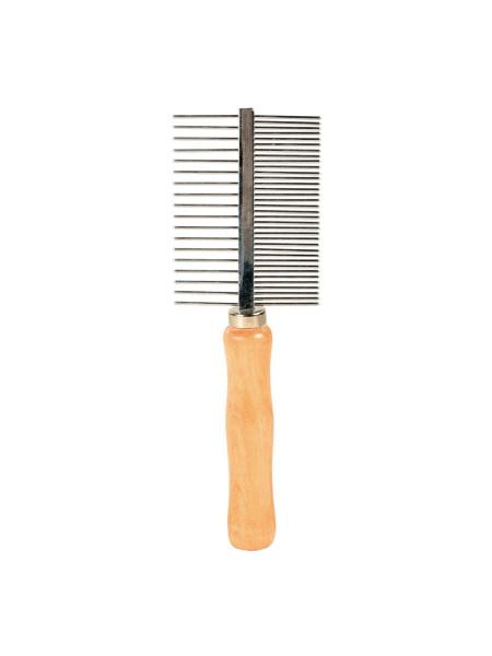 Расчёска Trixie двухсторонняя, с деревянной ручкой 17 см