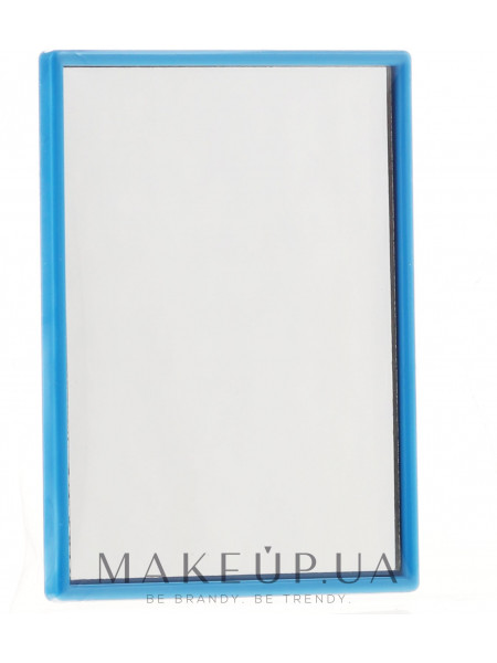 Компактное прямоугольное зеркальце, в темно-голубой оправе
