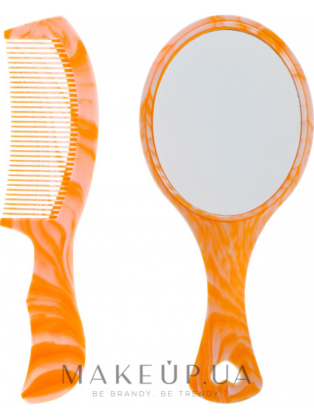 Детский набор гребешок и зеркальце, оранжевый