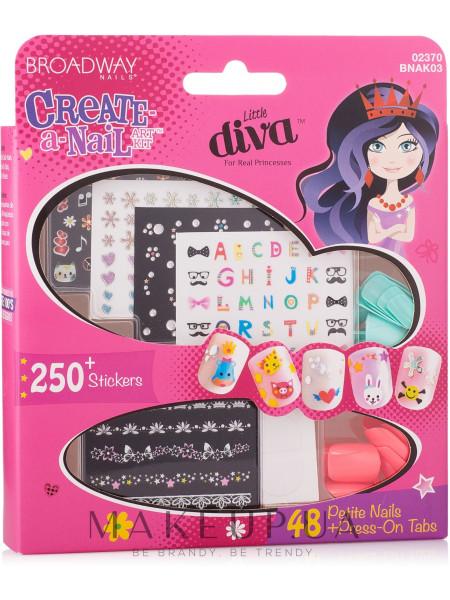Детский набор накладных ногтей на стикерах