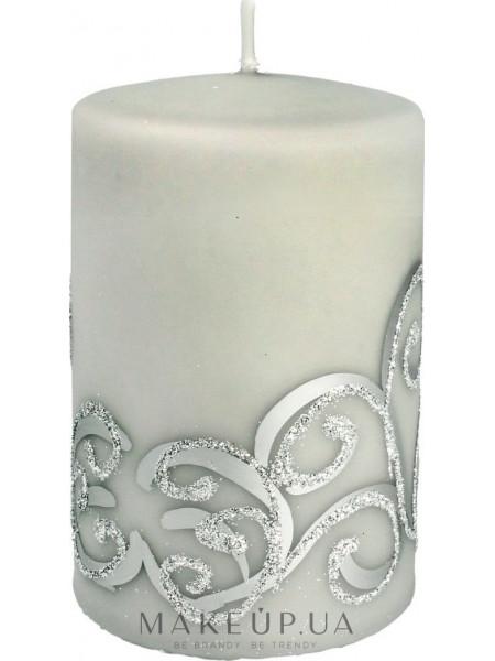 Декоративная свеча, серая с завитушками, 7x10 см