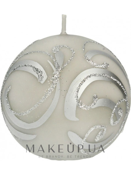 Декоративная свеча, шар, серый с завитушками, 8 см