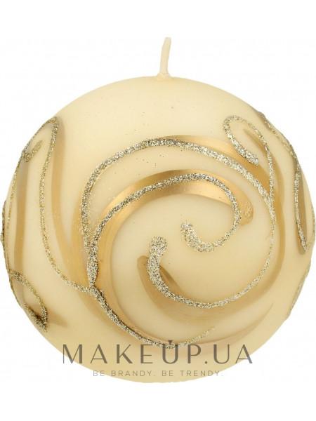 Декоративная свеча, шар, кремовый с завитушками, 8 см