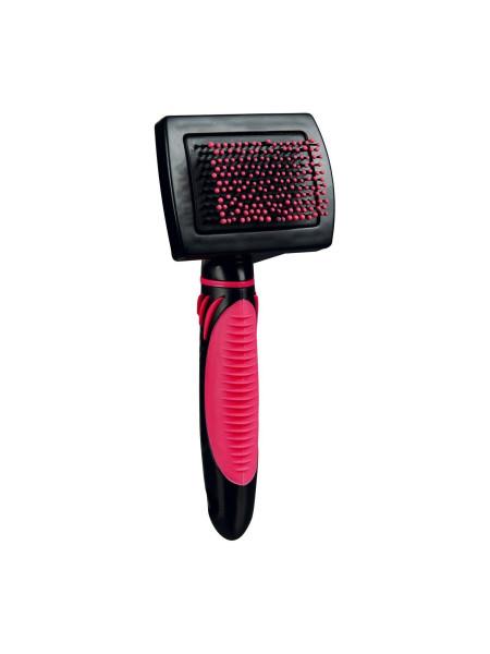 Щётка-Пуходёрка Trixie с пластиковой ручкой и защитными шариками 7 см / 16 см (розовая) - cts