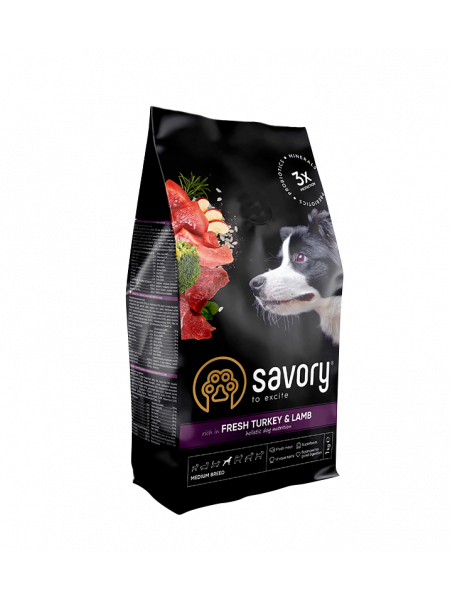 Сухой корм для собак средних пород Savory 1 кг (индейка и ягненок)