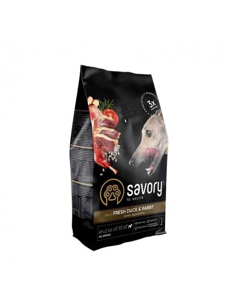 Сухой корм для собак всех пород Savory 3 кг (кролик и утка)