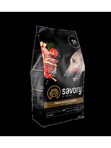 Сухой корм для собак всех пород Savory 1 кг (кролик и утка)