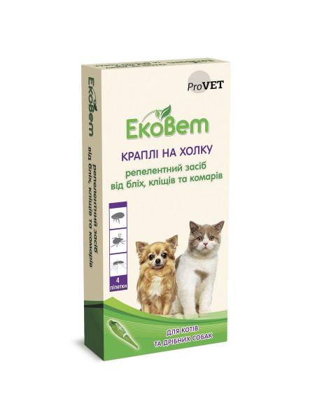 Капли на холку для кошек и собак мелких пород ProVET «ЭкоВет», 4 пипетки (от внешних паразитов)