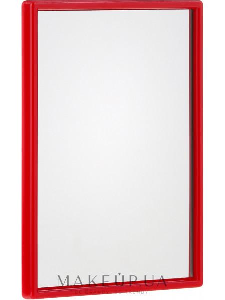 Компактное прямоугольное зеркальце, в малиновой оправе