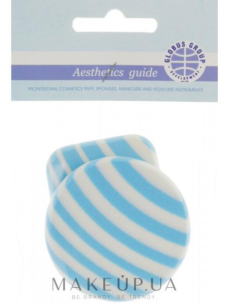 Спонжи для макияжа, круглый и прямоугольный, бело-голубые