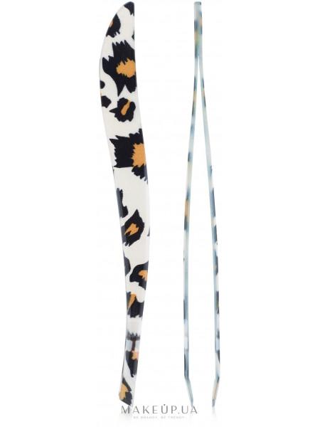 Пинцет профессиональный скошенный 9056, леопардовый