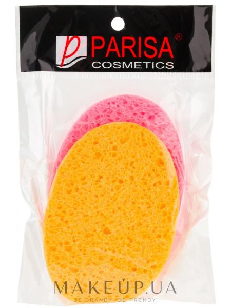 Губка для умывания с-11, овал, 2 шт, розовая, оранжевая