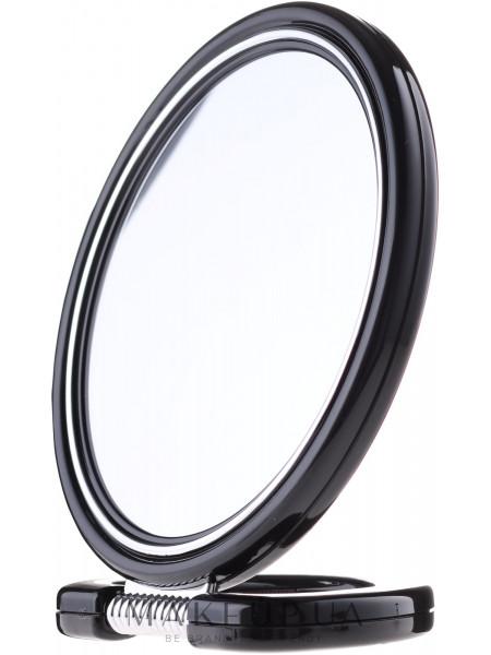 Зеркало двустороннее круглое 9509, на подставке, черное, 18,5 см