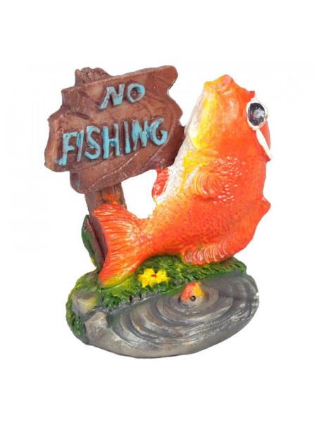 Декорация для аквариума KW Zone King's Рыбка с табличкой «No Fishing» 5,5 x 4 x 5,5 см (пластик)