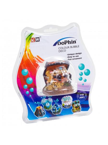 Декорация для аквариума KW Zone Dophin Сундук c распылителем 5,5 x 4,5 x 4,5 см (пластик)
