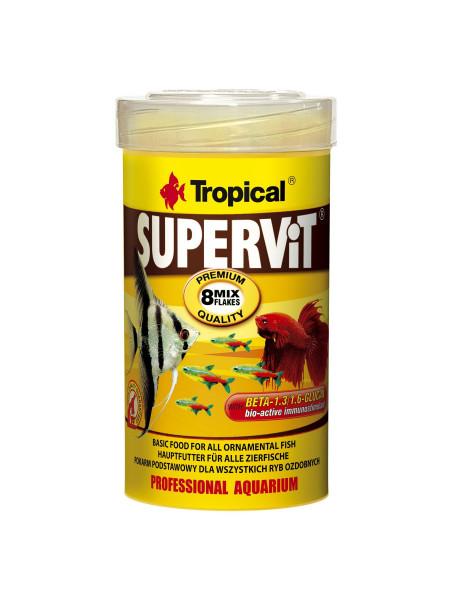 Сухой корм для аквариумных рыб Tropical в хлопьях «Supervit» 100 мл (для всех аквариумных рыб)