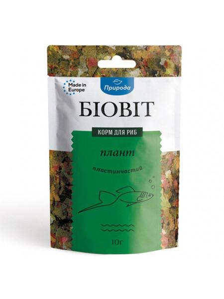 Сухой корм для аквариумных рыб Природа в хлопьях Биовит «Плант» 10 г (для травоядных рыб)