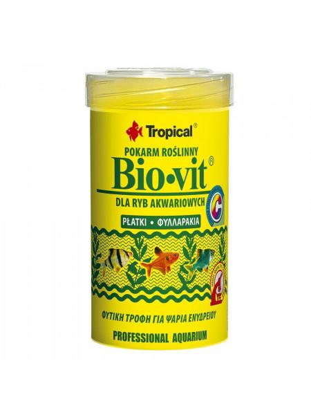 Сухой корм для аквариумных рыб Tropical в хлопьях «Bio-Vit» 100 мл (для травоядных рыб)
