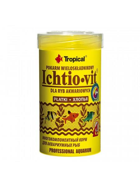 Сухой корм для аквариумных рыб Tropical в хлопьях «Ichtio-Vit» 100 мл (для всех аквариумных рыб)