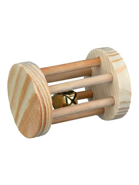 Игрушка для грызунов Trixie Валик с погремушкой 7 см / d=5 см (дерево)