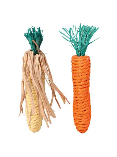 Игрушка для грызунов Trixie Кукуруза и морковка 15 см, набор 2 шт. (натуральные материалы)