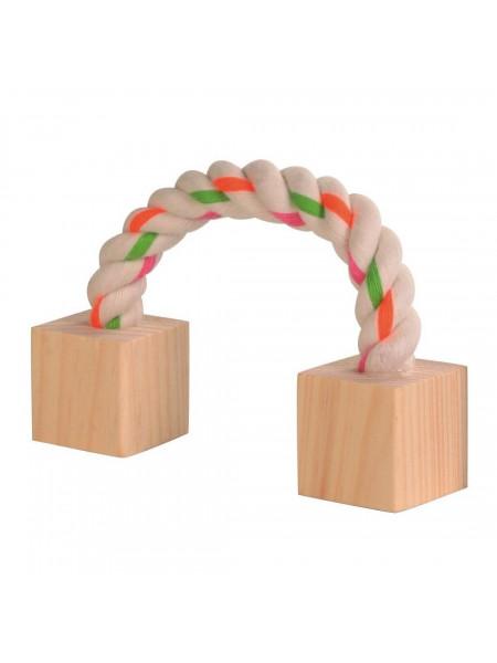 Игрушка для грызунов Trixie Канат с деревянными блоками 20 см