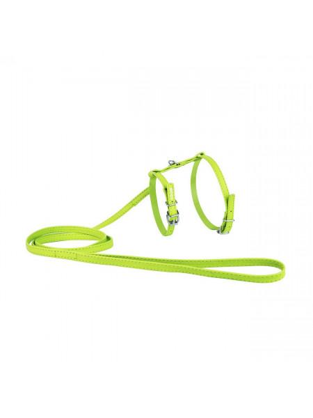 Шлейка с поводком Collar из кожи «Glamour» (Гламур) А:20-30 см / В:30-40 см / 1,15 м / 9 мм (зелёная)