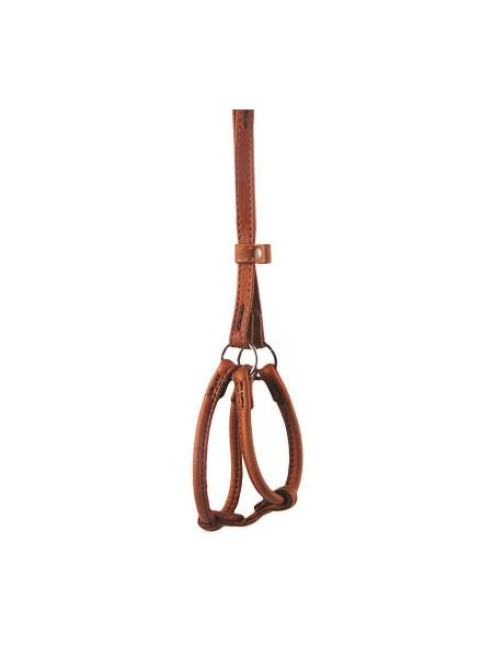 Шлейка с поводком Collar кожаная круглая «Soft» (Софт) №2, А:42-60 см / В:46-64 см / 90 см / 6 мм (коричневая)