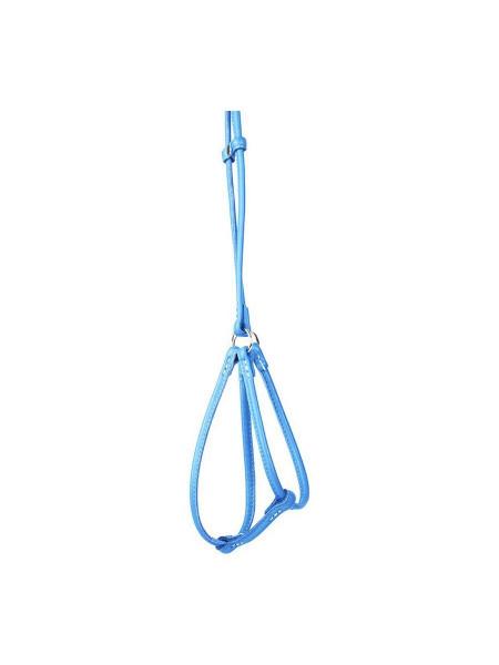 Шлейка с поводком Collar из кожи, круглая «Glamour» (Гламур) А:42-60 см / В:46-64 см / 90 см / 6 мм (голубой)