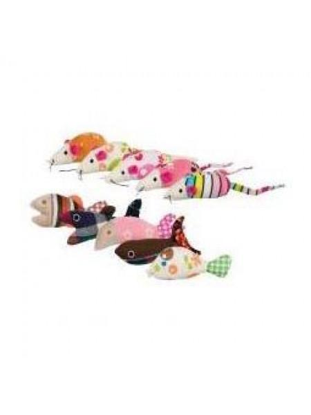 Игрушка для кошек «Мышка+Рыбка» 9-12см