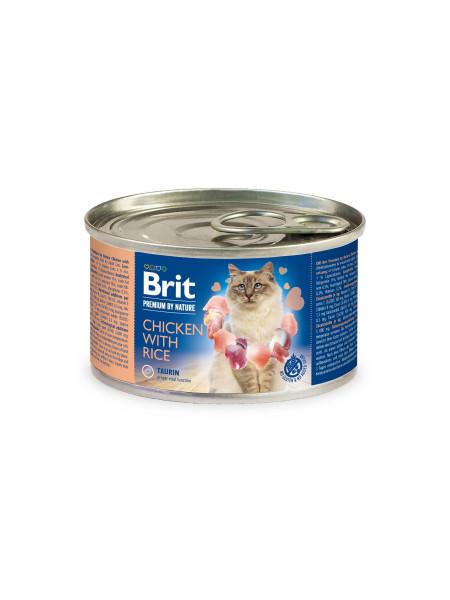 Влажный корм для кошек Brit Premium Chicken & Rice 200 г (паштет с курицей и рисом)