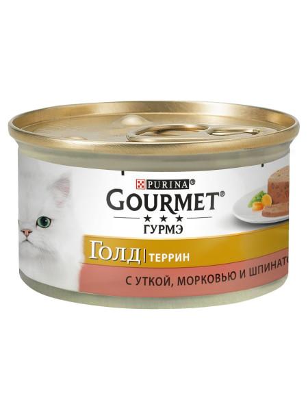 Влажный корм для кошек Gourmet Gold Pieces in Pate Duck, Carrot & Spinach 85 г (утка, морковь и шпинат)