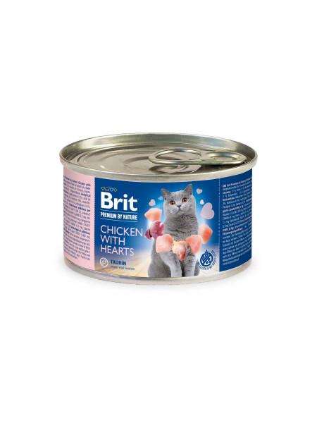 Влажный корм для кошек Brit Premium Chicken & Hearts 200 г (паштет с курицей и сердцем)