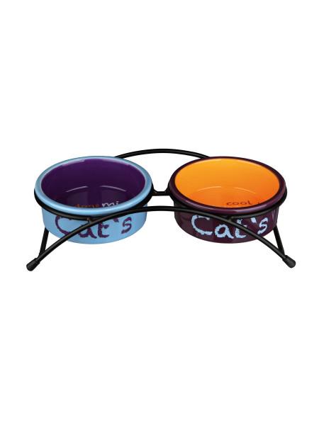 Миски керамические на подставке Trixie «Eat on Feet» 2 x 300 мл / 12 см (разноцветные) - 24791