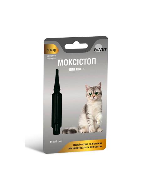 Капли на холку для котов ProVET МОКСИСТОП до 4кг (для лечения и профилактики гельминтозов) 1 пипетка