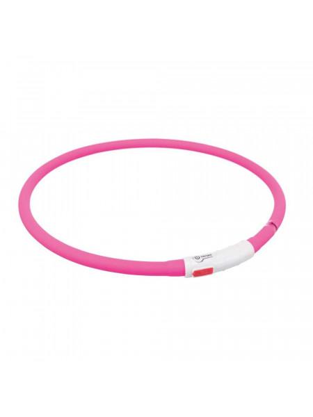 Ошейник Trixie светящийся с USB 70 см / 10 мм (розовый)