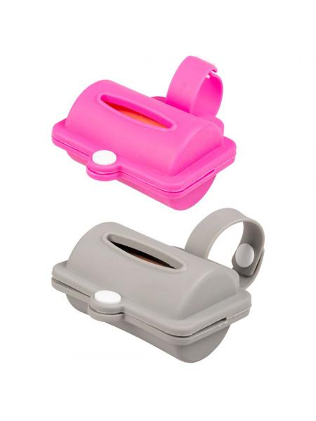 Контейнер Duvo+ для уборочных пакетов 8,2 см (розовый/серый) + 10 пакетов