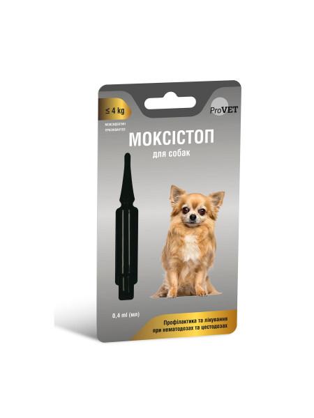 Капли на холку для собак ProVET МОКСИСТОП до 4кг (для лечения и профилактики гельминтозов) 1 пипетка