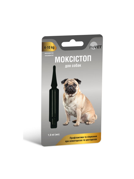Капли на холку для собак ProVET МОКСИСТОП от 4-10кг (для лечения и профилактики гельминтозов) 1 пипетка