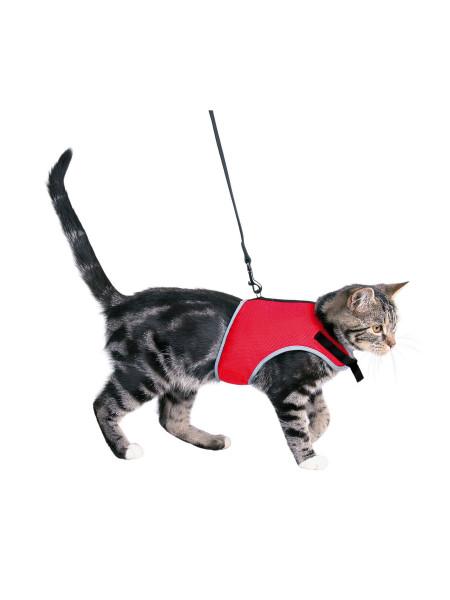 Шлейка с поводком для кошек Trixie нейлон «Soft» (красная) - 41896