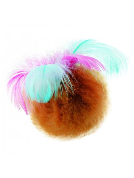 Игрушка для кошек Природа Мяч с перьями на резинке d=5 см (плюш)