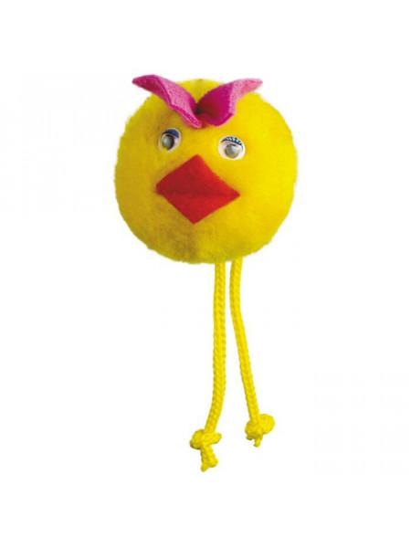 Игрушка для кошек Природа Мяч с веревочками на резинке «Утенок» d=5 см (плюш)