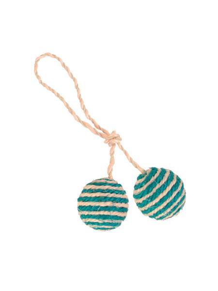 Игрушка для кошек Trixie Мячи с погремушкой на верёвке d=4,5 см (сизаль, в цветовом ассортименте)