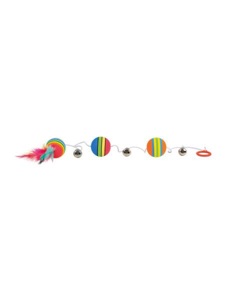 Игрушка для кошек Trixie Мячики радужные на резинке d=3,5 см (вспененная резина)