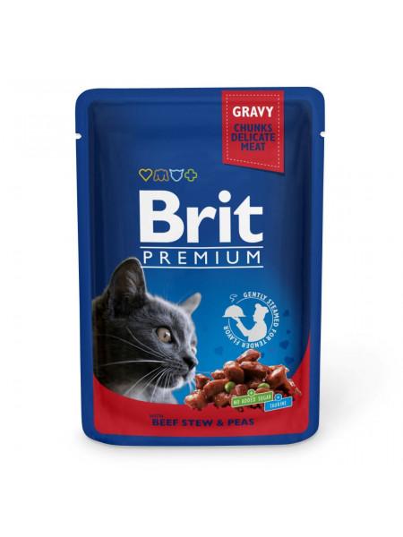 Влажный корм для кошек Brit Premium Cat Beef Stew & Peas pouch 100 г (тушеная говядина и горох)